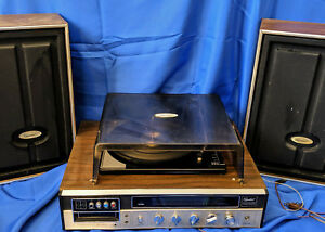 Capehart-AM-FM-Reciever-8-Track-Player-Recorder-Record-Turntable-Dust-Cover