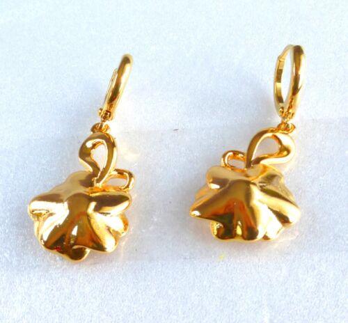 Womens Dangle Drop Earrings 24K Yellow Gold Plated 6mm Rose Flower UK