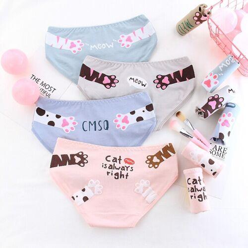 Women Cotton Panties Underwear Briefs Breathable Underpants Cat Paw Lingerie