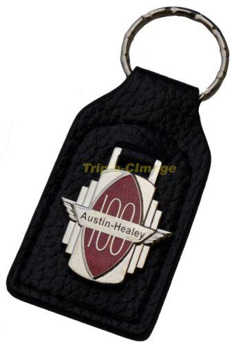 fob leather and enamel Austin-Healey 100//4 car key ring