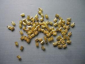 100 Mini (5MM) Golden Dreadlock Beads Adjustable Hair Braid Cuff Clip 5mm Hole