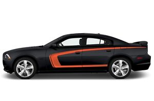 Vinyl Decal Graphics Wrap Kit for 2011-2014 Dodge Charger Side C-Stripe - ORANGE