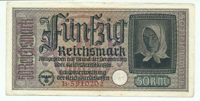 1940-1945 Germany Occupied Territories 50 Reichsmark Note B5910202