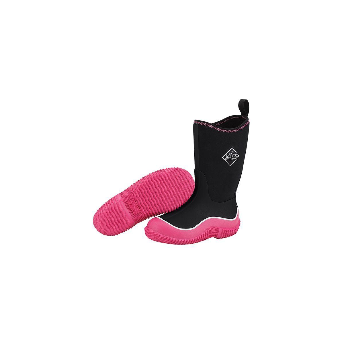 Muck Boots Company Kid's HALE, BLACK HOT PINK, Neoprene Rubber Waterproof