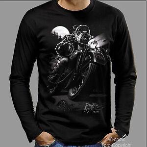 4166-LS-MOTO-bulldog-MOTO-Fun-Motocicleta-Bicicleta-CAMISETA-T-SHIRT-Roquero