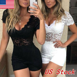 Women-039-s-Clubwear-Holiday-Summer-Mini-Jumpsuit-Lace-Romper-Party-Shorts-Dress-US