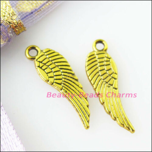45Pcs Antiqued Gold Tone Tiny Wings Charms Pendants 5x17mm