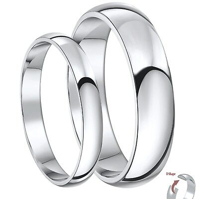 Begeistert 9ct White Gold D Shaped His & Hers 3&5mm / 4&6mm Light Weight Wedding Rings