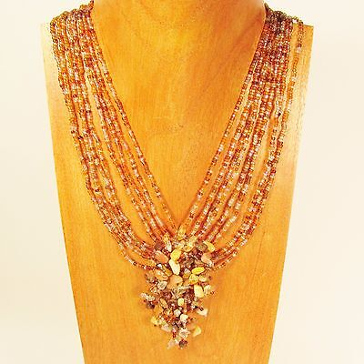"""20/"""" Metallic Silver Stone Shell Chip Handmade Seed Bead Necklace FREE SHIPPING!"""