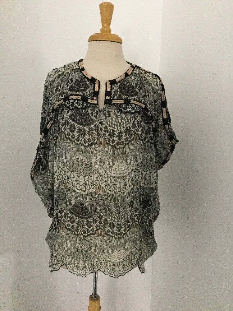 NEW Anthropologie Lace Print Beaded Cocoon Blouse Size Large