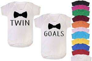 Twin Goals Bow Tie Twins Baby Vests Babygrow Baby Twin Gifts Set Baby Shower