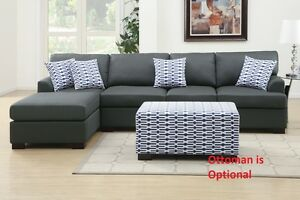 Blended Linen 2 Pcs Sectional Set Sofa & Chaise In Slate Black Living Room