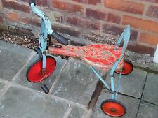 Vintage Original Childs Tri-ang Wooden Seat Ride On Pedal Driven Tricycle Trike