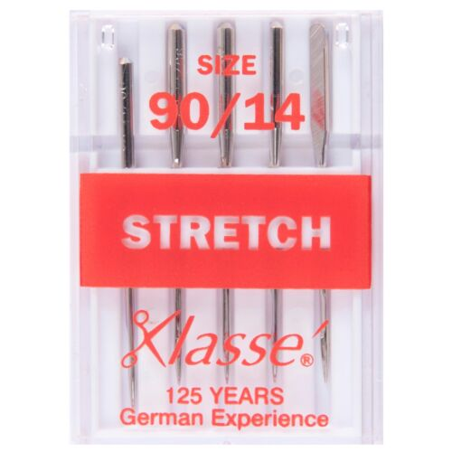 5 SIZE 90//14 SEWING MACHINE NEEDLE KLASSE STRETCH NEEDLES ELASTICATED FABRIC