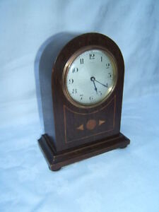 Clock-vintage-mantle-French-Mahogany-working-VGC-M9