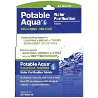 Potable Aqua Chlorine Dioxide Water Purification 20-tablets 2-pack (40 Tabs)