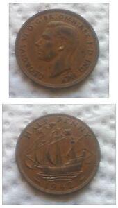 HALF-PENNY-1942-GEORGIVS-VI-EXCELENTE-RARA-ASI-S-C-RESTOS-DE-BRILLO-ORIGINAL