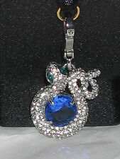 Juicy couture charm pave snake green eyes blue stone silver tone YJRU6430 bling