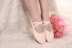 KIDS GIRLS WOMENS LADIES PINK FLESH COLOURED CANVAS BALLET DANCE SLIPPER SHOES