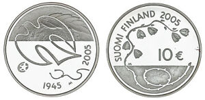 10 Euros. Finland - Finlandia. Ag. 60th Anniversaire Of Peace Paz. 2005.
