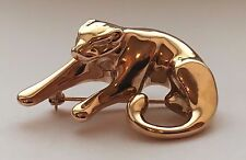 14 K YELLOW GOLD CAT PANTHER BROOCH CHARM PENDANT FREE SHIPPING