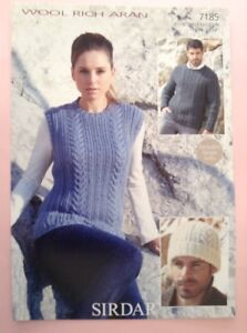 6e56a81e4 Sirdar Wool Rich Aran Ladies Men s Sweater Knitting Pattern 7185 ...