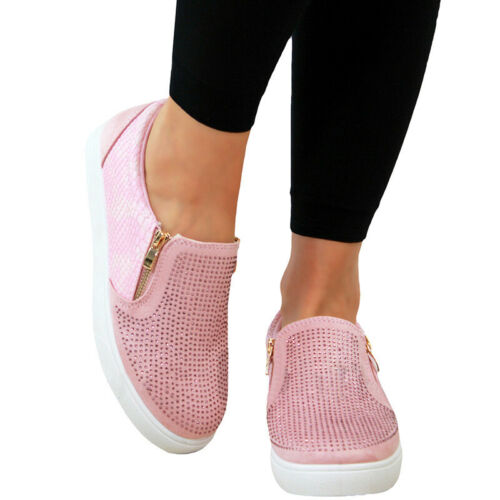 Details about  /Women Pumps Canvas Loafers Flats Slip On Trainers Plimsolls Casual Lady Shoes