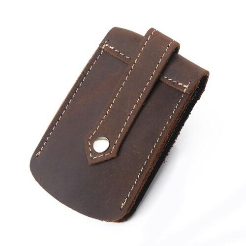 Vintage Genuine Leather Men Car Key Wallet Key Holder Case Waist Bag Housekeeper