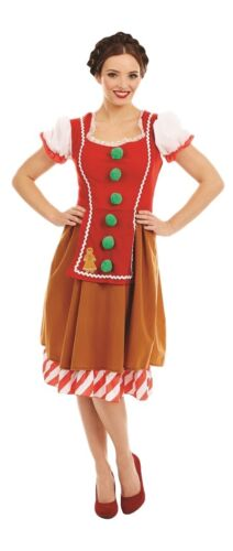 Ladies Gingerbread Doll Christmas Xmas Festive Fancy Dress Costume Outfit 8-18