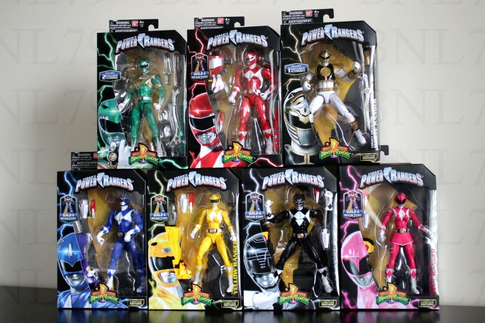 Ensemble complet 7 Power Rangers Legacy figurine Megazord BAF Blanc Rouge Vert Jaune