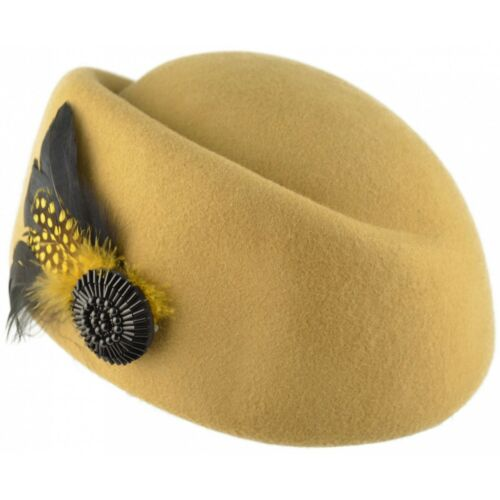 Women Wool Felt Vintage Cloche Hat Feathers Black Yellow Burgundy Adjustable