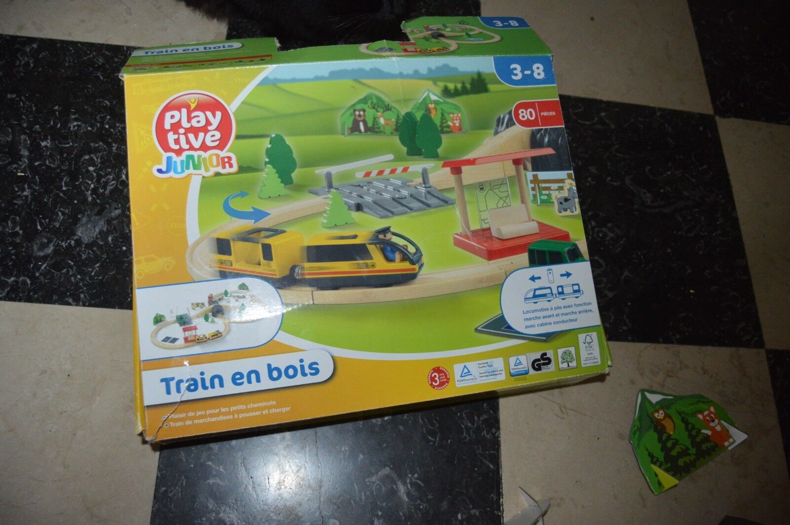 BOITE  TRAIN EN BOIS  RAIL  DECOR ANIMAUX  PLAY FIVE JUNIOR FONCTIONNE LOCO