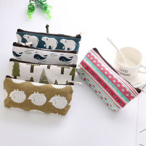Cosmetic-Organizer-Stationery-Pencil-Bag-Storage-Pouch-Cute-Animal-Canvas-Case