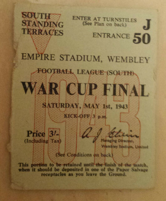 1943 War Cup Final TICKET- ARSENAL v CHARLTON ATHLETIC (Original)