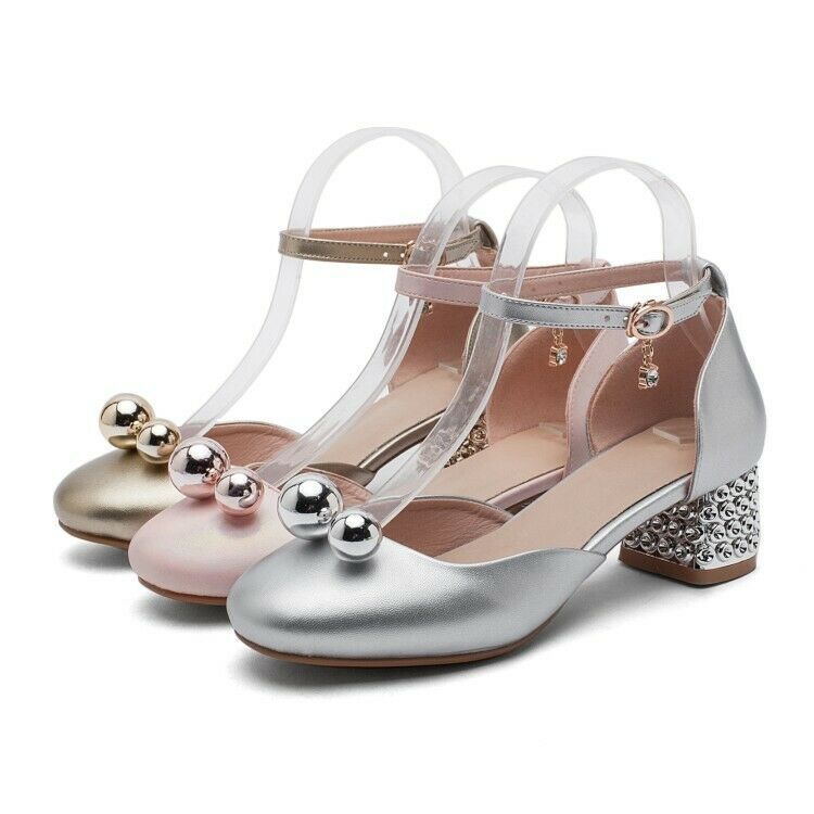 Womens Trendy Sweet Mary Jane Ankle Strap Princess shoes Block Mid Heels Size