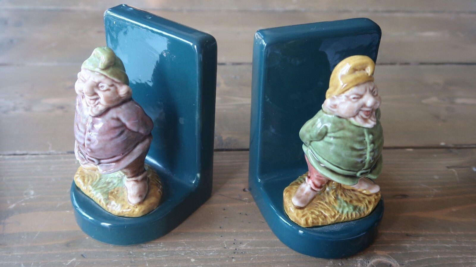 Heavy Ceramic Gnome Bookends 4.5 x 3 x 3 inches