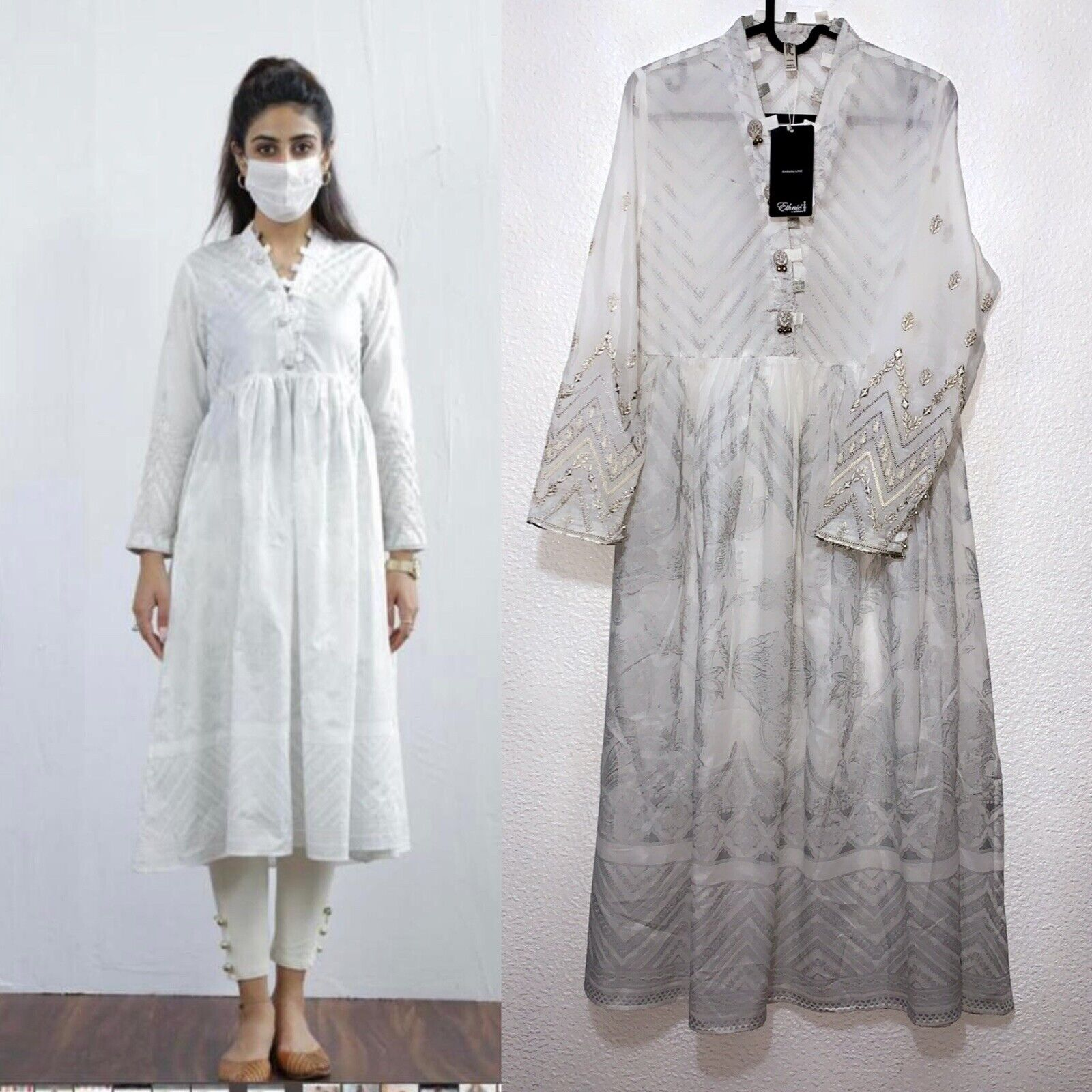 Ethnic by Outfitters Kurta Dress Large L Like Khaadi Agha Noor