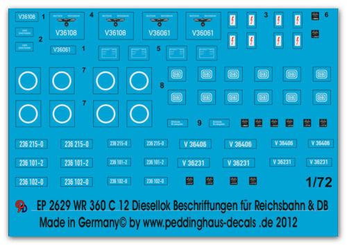 Peddinghaus 2629 1//72 WR 360 C 12 Diesellok Beschriftungen für Reichsbahn und DB