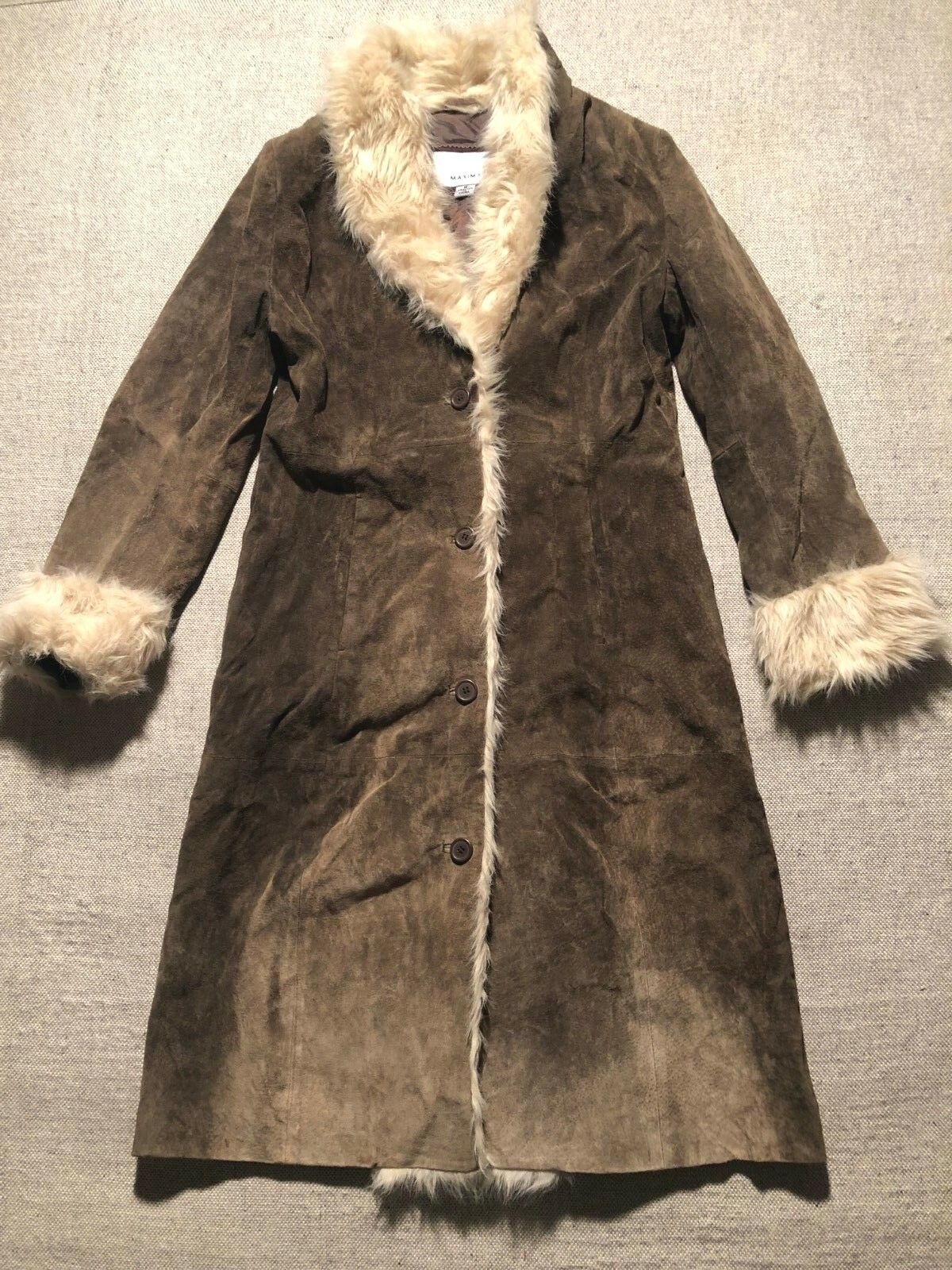 Wilsons Leather Maxima Women's Genuine Leather Faux Fur Trim Coat Long Sz M  BB2