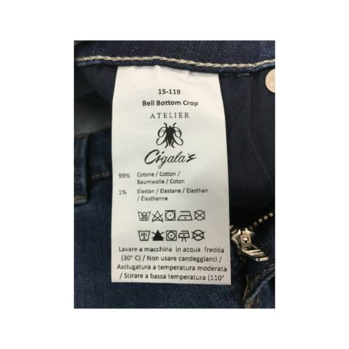 Atelier Cigala'S Damenjeans Licht Mod 15-119 Bell Bottom Ernte Made IN Italy