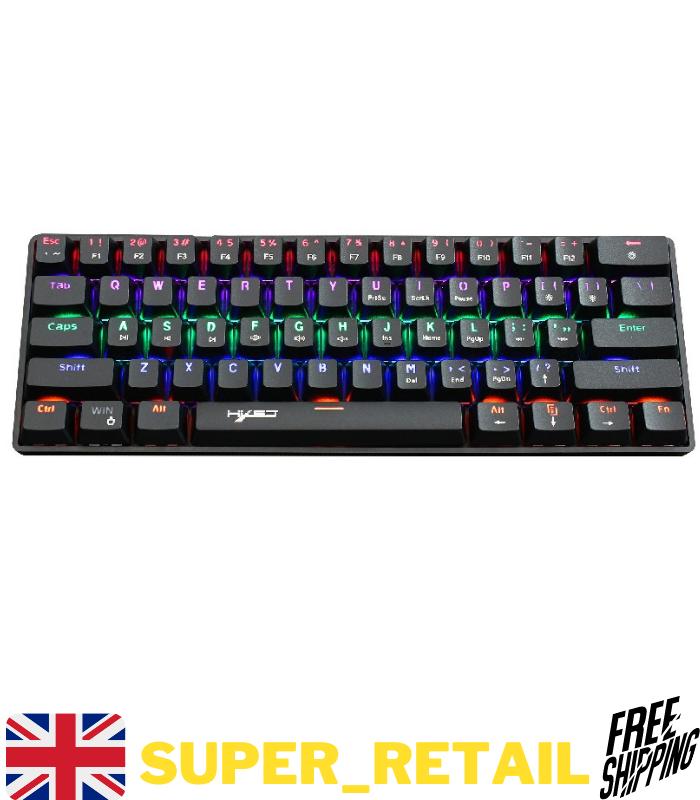 UK Layout Wired Mechanical Gaming Keyboard 61 Keys RGB Backlit Type-C - Black