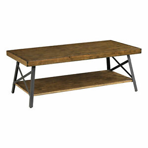 Emerald Home Chandler 48 Inch Long Rustic Open Storage Coffee Table, Pine Brown