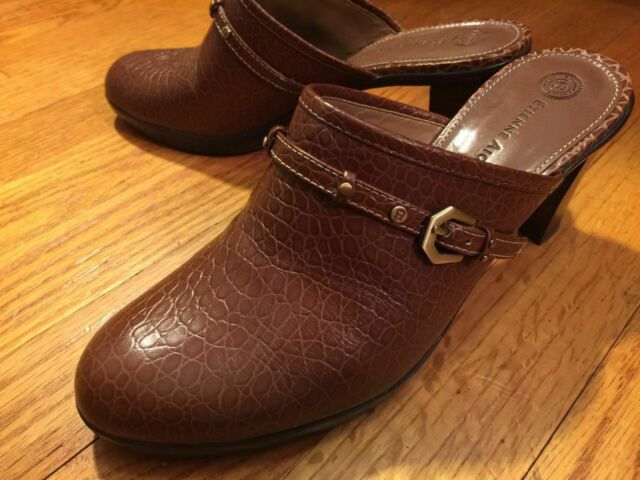 Clogs Shoes ETIENNE AIGNER Womens 7.5M Brown Leather Slip On Stacked Heel Mules