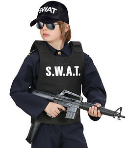 BOYS-KIDS-POLICE-SWAT-BULLETPROOF-VEST-&-SWAT-  sc 1 st  eBay & BOYS KIDS POLICE SWAT BULLETPROOF VEST u0026 SWAT CAP HAT COSTUME FANCY ...