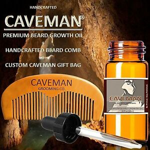 Handcrafted-Caveman-BEARD-GROWTH-OIL-plus-FREE-Comb-and-Gift-Bag