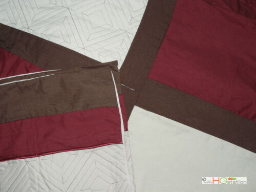 11Pc Quilted Diamond Square Patchwork Comforter Curtain Set Burgundy Beige Queen