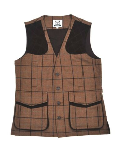 Country Tweed Waistcoat Gilet Light Brown with Navy Check