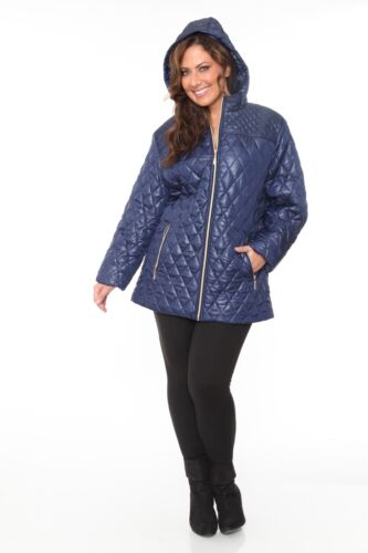 White Mark Plus Size Casual Puffer Winter Coat Jacket With Hoodie For Women