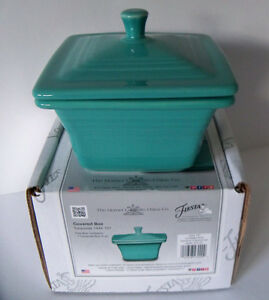 TURQUOISE-Store-Exclusive-Fiesta-Square-Covered-Box-Candy-Dish-1st-Quality-BELK