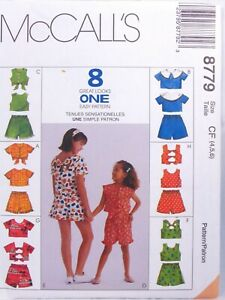 McCalls-8779-Girls-Crop-Tops-Shorts-8-Great-Looks-One-Easy-Pattern-Size-4-5-6